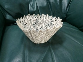 Machine embroidered lace bowl.  Embroidered and completed by student Annette J.